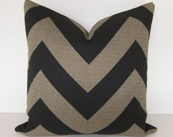 On Sale - Zig Zag - Chevron Pillow Cover - Black and Stone - 18x18 inches - BOTH SIDES