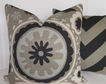 On Sale - Suzani Pillow Cover - Black and Stone - 18x18 inches - BOTH SIDES