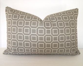 SALE - Decorative Pillow Cover in Silver Grey - Ivory - P Kaufmann - Geometric - Lattice - 12x18 - 12x20 or 16x16 inches
