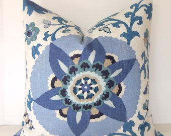 Both Sides - Designer Pillow Cover - P Kaufmann - Silsila - Indian Sea - Blue - Seaglass - Taupe - Cornflower - Ivory