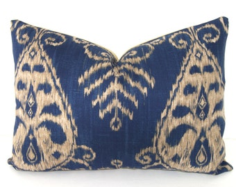 SALE - 16x16 - 12x18 or 12x20 inches - Decorative Pillow Cover - Ikat - Deep Blue and Tan - Duralee