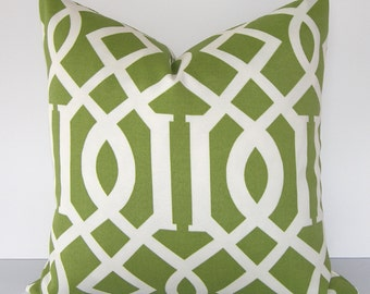 Decorative Pillow Cover - BOTH SIDES - Trellis - Geometric - Indoor Outdoor - 18x18 or 20x20 inches  - Green and Ivory
