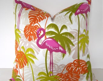 Tropical Designer Pillow Cover - Pink Flamingos - Palm Trees - 16x16 to 26x26 inches- BOTH SIDES