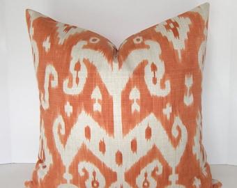 BOTH SIDES - Decorative Designer Ikat Pillow Cover - Tangerine - Orange - Ivory