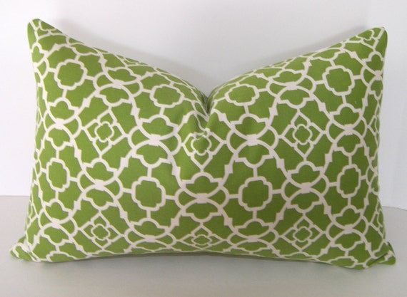 SALE - Both Sides -  Waverly Lattice Pillow Cover - 12x18 - 12x20 inch Lumbar Pillow Cover - Green and Ivory