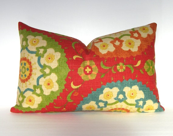 Both Sides - Decorative Pillow Cover - Suzani - Lumbar in Cadmium Red-12 x 20 inches