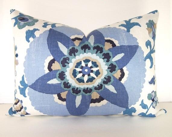 Designer Pillow Cover - P Kaufmann - Lumbar - Silsila - Indian Sea - Blue - Seaglass - Taupe - Cornflower - Ivory