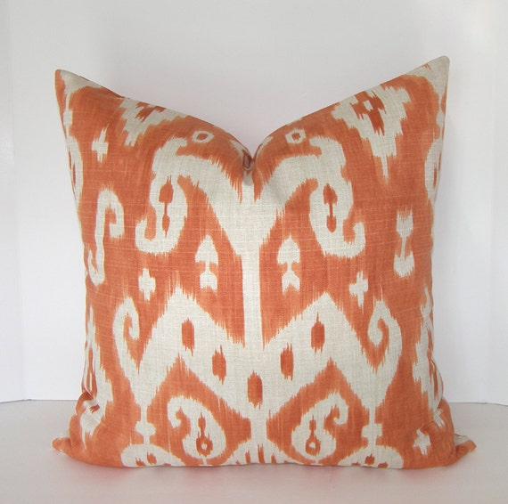BOTH SIDES - Decorative Designer Ikat Pillow Cover - Tangerine - Orange - Ivory