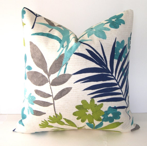 Reserved for Amber - Decorative Floral Pillow Cover - 16x16 inches -Indoor Outdoor - Turquoise - Green - Navy -Teal and Taupe - Ivory