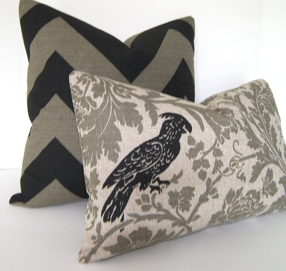 Sale - Both Sides - Decorative Bird Pillow Cover - Black - Grey and Stone - 12x18 or 12x20 inch Lumbar