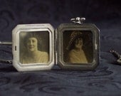 Antique Sterling Photo Locket and Pen Knife with Original Photographs