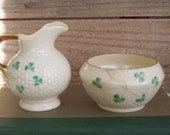 Vintage Belleek Basketweave Shamrock Creamer and Sugar