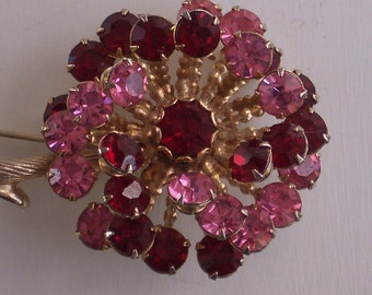 Rhinestone Flower Brooch -  Pink and Ruby