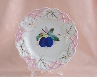 Reticulated Plate with Gold Trim & Rose Accents
