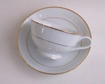 Noritake White with Gilt Trim Cup & Saucer