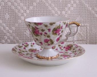 Pink Violets Cup & Saucer
