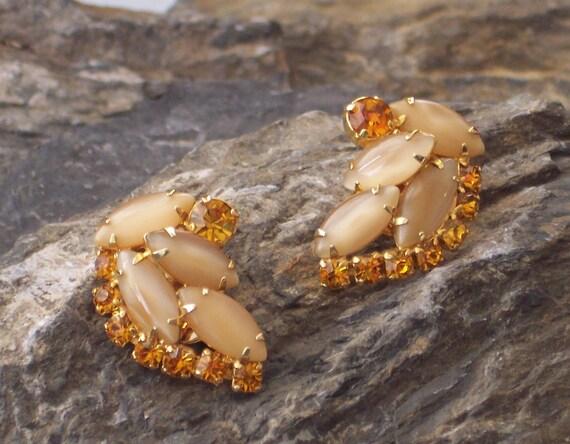 Vintage Butterscotch Rhinestone Clip Earrings