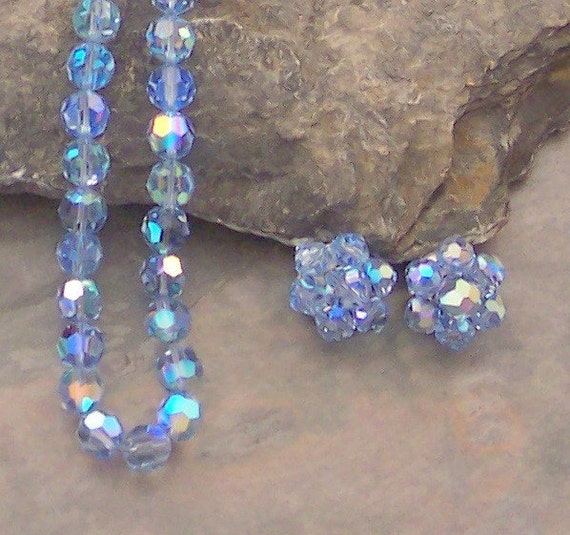 Baby Blue Aurora Borealis Crystal Necklace and Clip Earrings