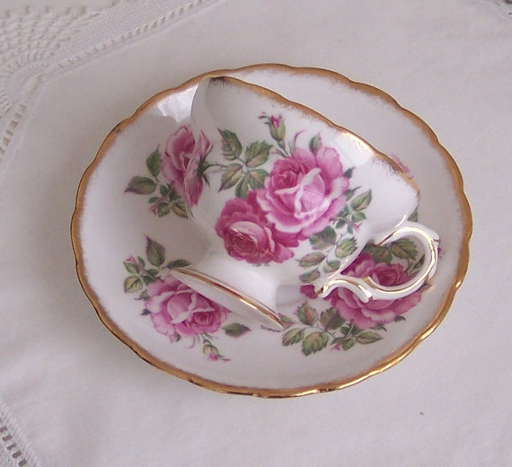 Queens Rosina Pink Rose Cup And Saucer