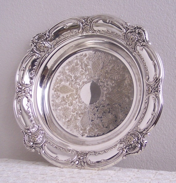 Very Large and Ornate Vintage Silverplate Tray