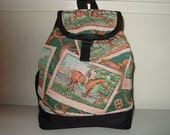 Horse with the Rider Tapestry Backpack Purse.