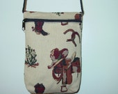 Western Boots and Saddles Horse Tapestry Purse On The Rope Shoulder Bag