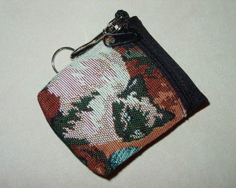 Cat Kitty Tapestry  Belt Pack/Key Chain Combo