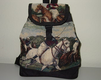 POLO Horse Rider Tapestry Backpack Purse,Equestrian Handbags,Polo Backpack