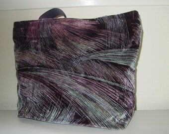 Velveteen Fabric All in One Tote Bag and  Purse Great Colors