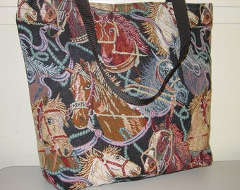 Wild Mustang Horse Heads Tapestry Tote Bag Shopping Bag