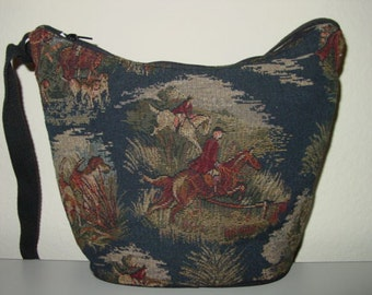 Horse Fox Hunt Scene Tapestry Purse,Horse Crossbody Bag,Equestrian Handbags,Horse Hunt Scene Bag