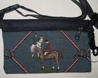 Horse Hunt Scene  Tapestry Travel-Lite Hip Pack, Equestrian Handbags , Blue and Khaki