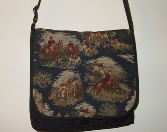 Horse Hunt Scene Hounds and Foxes Tapestry Messenger Bag