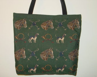 Horse and Hound Tapestry Tote Bag Shopping Bag