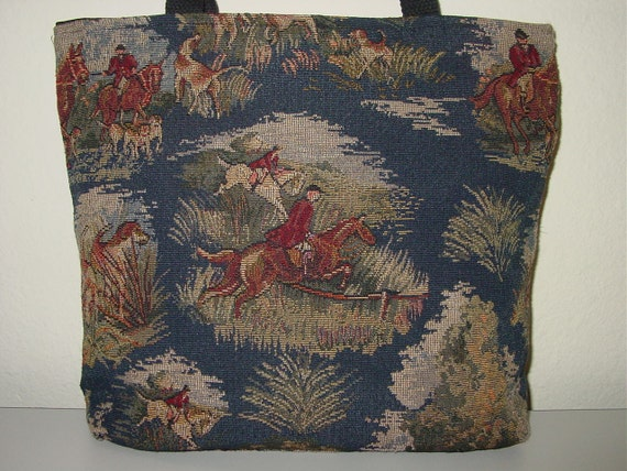 Horse Hunt Scene Hounds and Foxes  Tapestry  All in One Tote Bag and  Purse.