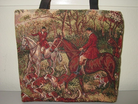 Horse Hunt Scene Hounds and Foxes  Tapestry All in One Tote Bag and  Purse.Equestrian Gifts