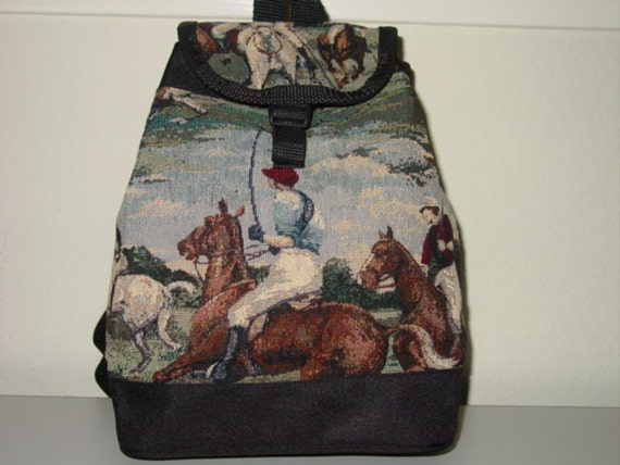 POLO Horse Rider Tapestry Backpack Purse,Equestrian Handbags,Polo Horse Backpack