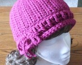 reserved listing for CherishL- verticle stitched hat with crocheted ribbon