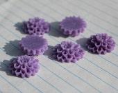 10 MEDIUM DAHLIA Cabochons - 15mm - Lavender Color