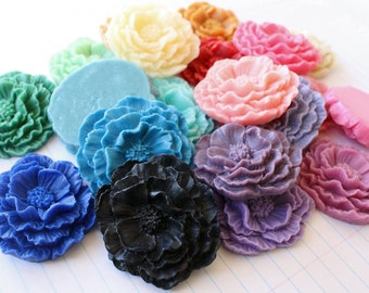 GIANT Ruffle Rose Cabochons - Lot of 8 - 40x45mm - CHOOSE your Colors