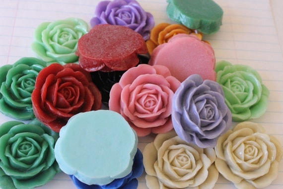 GORGEOUS Big Rose Cabochons - Lot of 8 - 43mm - CHOOSE your Colors