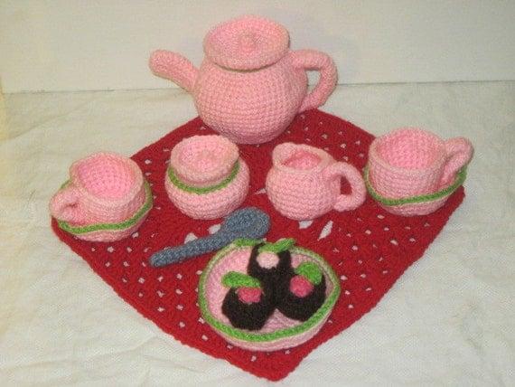 Crochet  Pink Tea Set