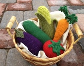 Play Food: Knit Vegetables, 100% Wool (RESERVED FOR MARNEY)