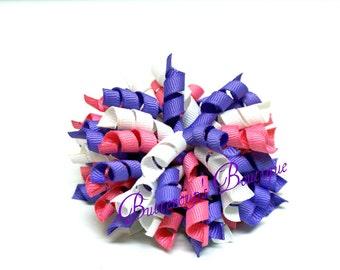 Korker hair bow, cork screw hair bow, curly hair bow, purple pink white bow, pink hair bow, corker hair bow