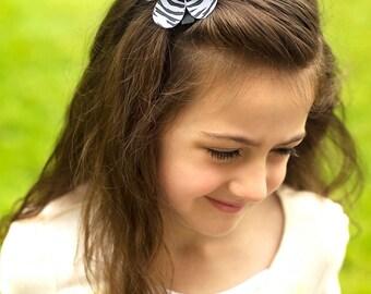 Zebra hair bow, ribbon flower, zebra flower bow