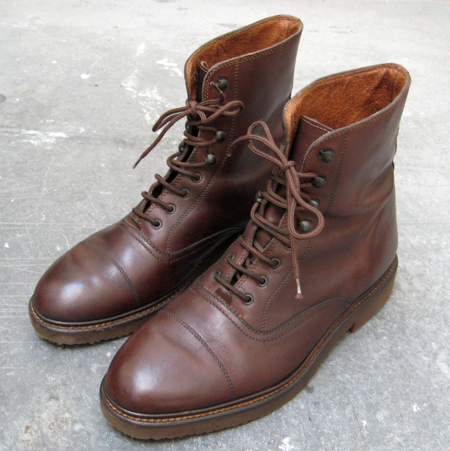Vintage Italian Leather Brown Military Style Boots