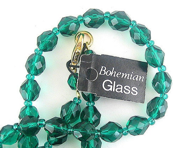 BOHEMIAN Glass Necklace - Old Stock, Emerald Green Faceted Beads, Orig. Tag