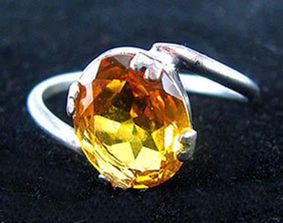 Ring Citrine Crystal & Sterling Vintage UNCAS Vibrant Twist Setting
