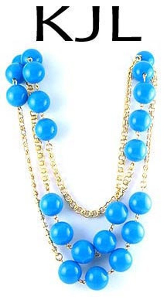 KENNETH LANE Turquoise Bead & Chain Long Necklace