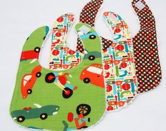 Car and Street Signs, Set of Three Infant Drool Bibs